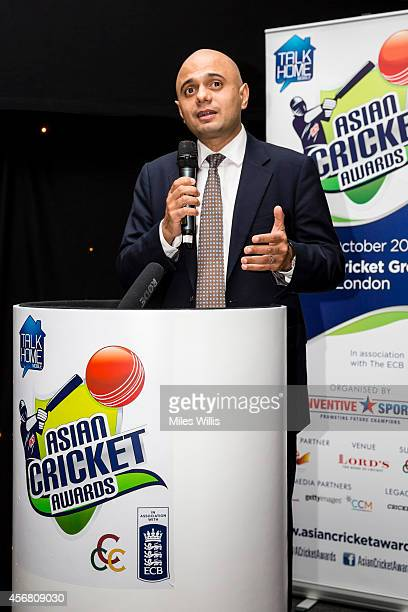 MP for Bromsgrove Sajid Javid makes a speech during the Asian Cricket Awards at Lords on October 7 2014 in London England