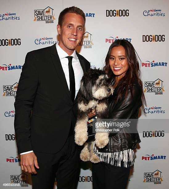 DOG for DOG Founder and President Rocky Kanaka and actress Jamie Chung and her rescue dog Ewok attend the launch of DOG for DOG movement Buy One Give...