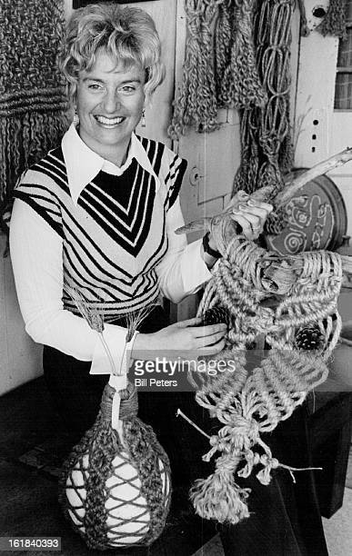 MAR 27 1974 APR 3 1974 APR 7 1974 For her first showing with Art Mart Mrs Daniel Smith will feature macrame pieces of an owl and a covered jug