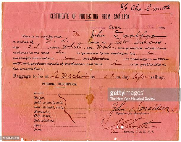 For John Donaldson traveling aboard SS Chalmette to New Orleans Havana Cuba July 18 1902 Printed certificate filled out with ink by United States...