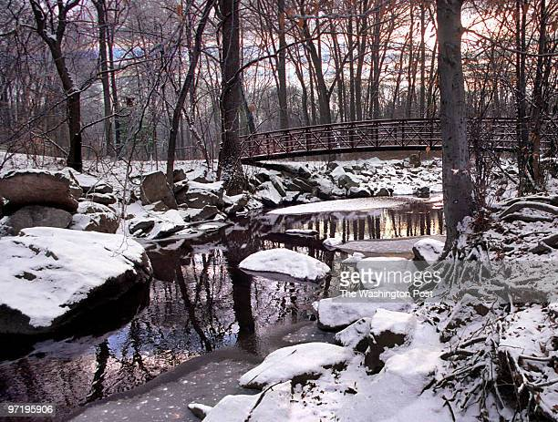 SNOW For Laura Stepp's tone poem on the sound of snow a pastoral view of Sligo Creek this morning after a dusting of snow ORG XMIT 136587