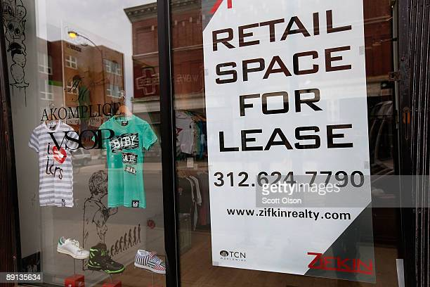 A 'For Lease' sign hangs in a store window along Milwaukee Avenue in the Wicker Park neighborhood July 21 2009 in Chicago Illinois The retail space...