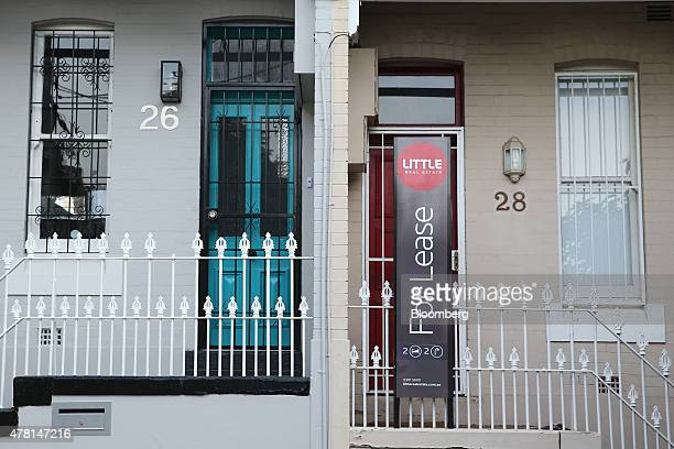 A 'For Lease' sign is displayed outside a terrace house in the suburb of Paddington in Sydney Australia on Thursday June 18 2015 Surging home prices...