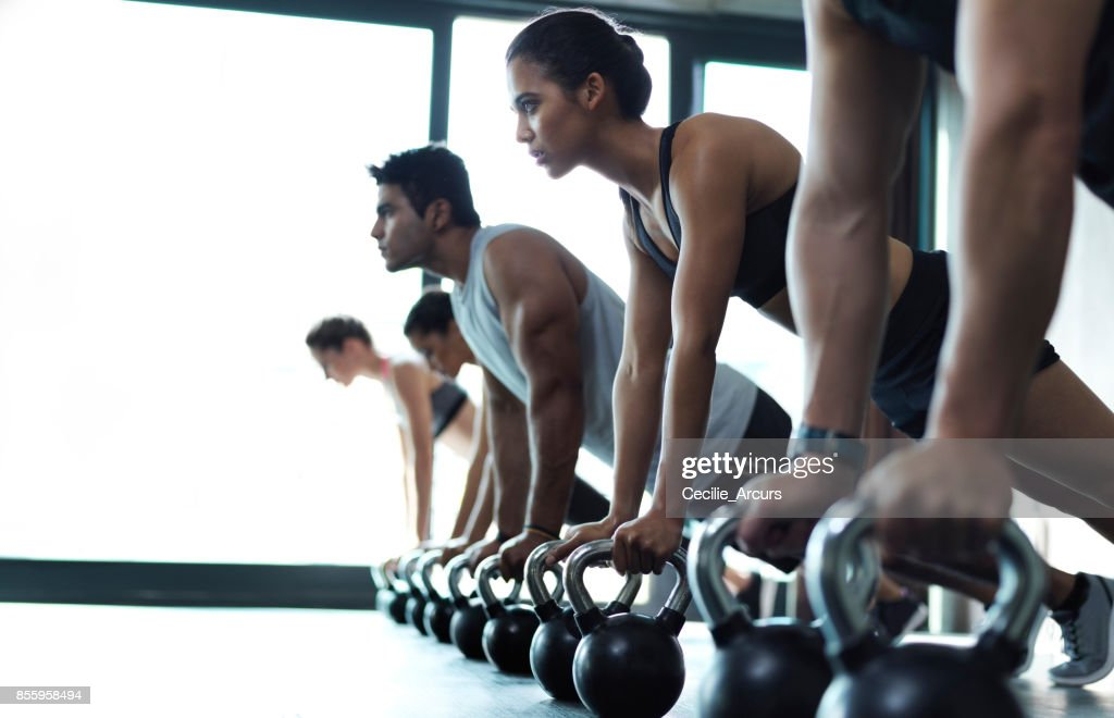 For muscles of steel, add weights : Stock Photo