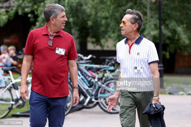 For NBCUniversal Jeff Shell talks to founder of Imagine Entertainment Brian Grazer at the Allen & Company Sun Valley Conference on July 07, 2021 in...