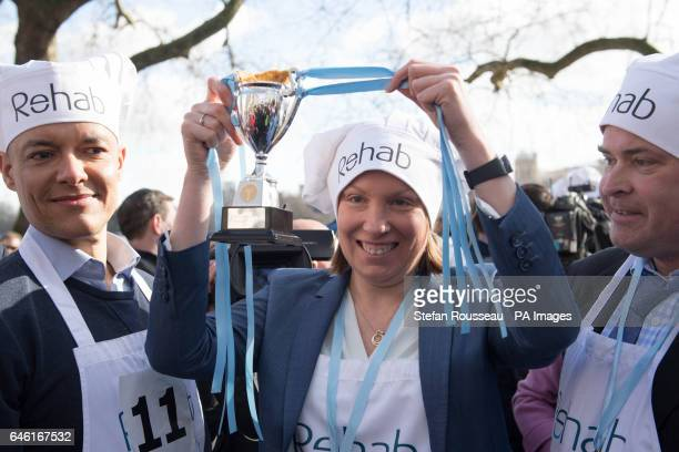 MP for Norwich South Clive Lewis Sports Minister Tracey Crouch and MP for East Worthing and Shoreham Tim Loughton with their trophy after winninng...