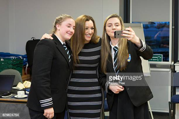 MP for Ochil and South Perthshire Tasmina AhmedSheikh has selfie photographs taken with students as she visits Crieff High School in her constituency...