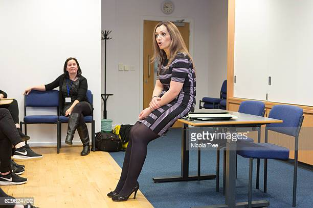 MP for Ochil and South Perthshire Tasmina AhmedSheikh speaks with students as she visits Crieff High School in her constituency on December 9 2016 in...