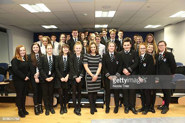 MP for Ochil and South Perthshire Tasmina AhmedSheikh visits Crieff High School in her constituency on December 9 2016 in Crieff Scotland