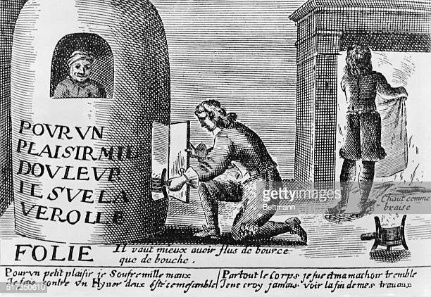 For one pleasure a thousand pains Engraving by Jacques Laniet Receuill des Plus Illustrates proverbs A syphilitic sits in a fumigation stove his head...