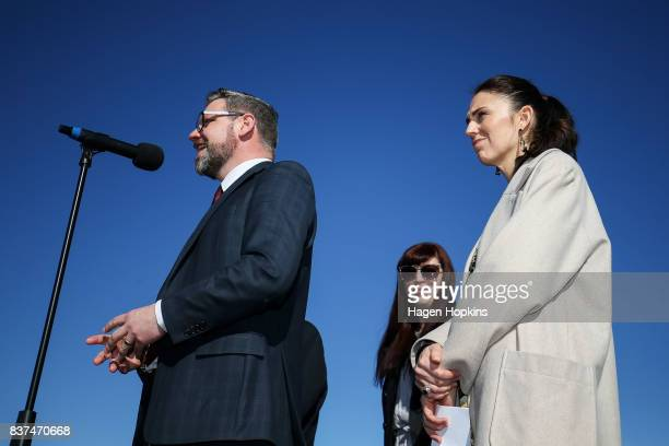 MP for Palmerston North Iain LeesGalloway speaks while Labour leader Jacinda Ardern and candidate for Rangitikei Heather Warren look on during a...