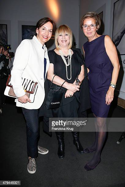 For Patricia Riekel and Inga Griese-Schwenkow attend Karl Lagerfeld 'The Glory Of Water' Exhibition Vernissage at Haus der Kunst on March 18, 2014 in...