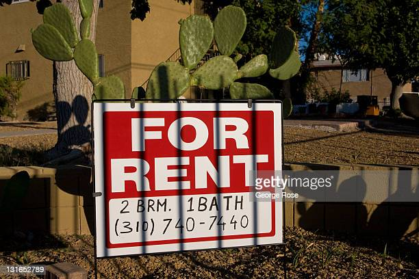 A for rent sign at the Perez Apartments on Palos Verde Street is posted in front of cactus on October 23 2011 in Las Vegas Nevada Though tourism is...