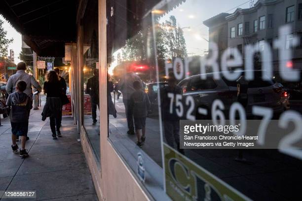 For Rent sign hangs in the window of a vacant retail space along Columbus Avenue in the North Beach neighborhood of San Francisco, Calif. Thursday,...