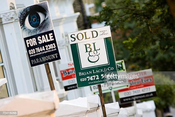 For Sale and Sold signs West Hampstead London UK