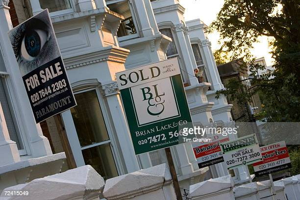 For Sale and Sold signs West Hampstead London United Kingdom