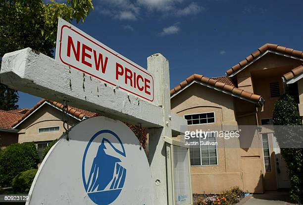 For sale sign advertises a reduced price in front of homes for sale April 29, 2008 in Stockton, California. As the nation continues to see widespread...