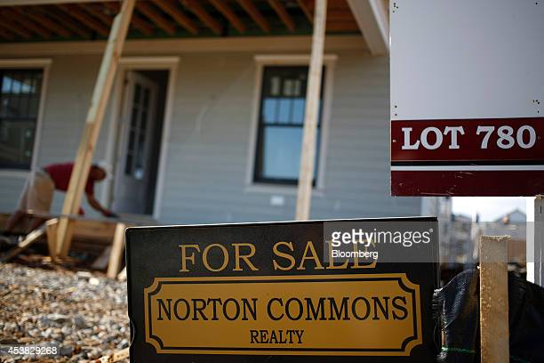 A 'For Sale' sign stands in front of a house under construction at a Norton Commons residential subdivision in Louisville Kentucky US on Friday Aug...
