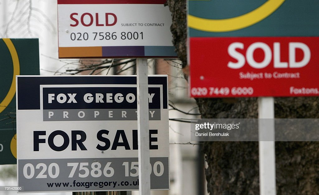 For Sale signs are pictured on January 29, 2007 in London, England. Despite recent interest rate rises, UK house prices are expected to rise by GBP1,000 a month according to the Centre for Economics and Business Research.