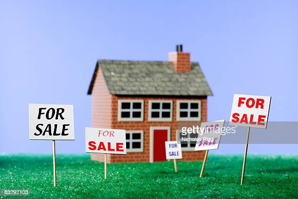 For sale signs in front of model house