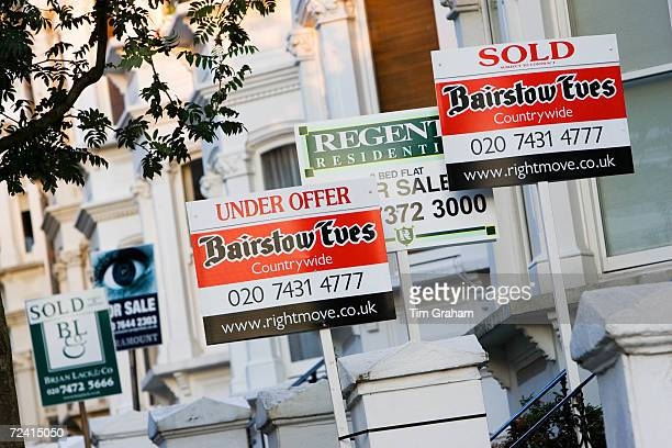 For Sale Under Offer and Sold signs West Hampstead London UK