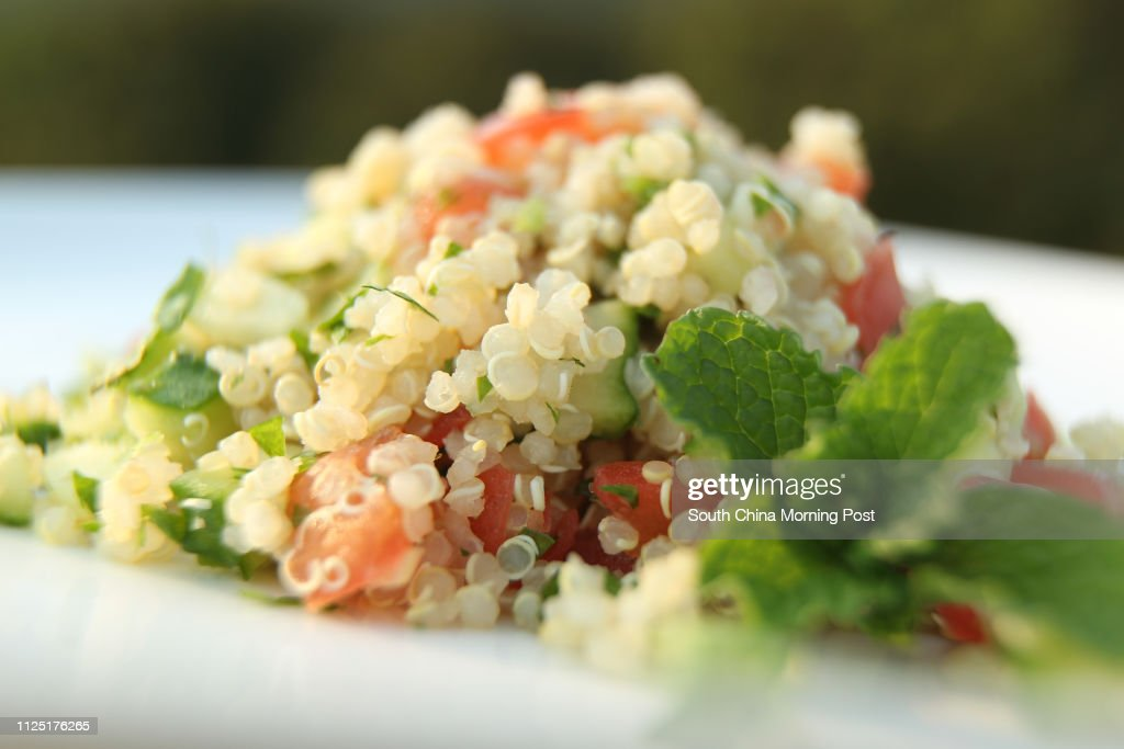 For SCMP Health Post feature on quinoa: Gourmet raw food chef Dr Wendy Yang whips up a quinoa tabbouleh. To take photo of the dish at her home, Sha Kok Mei Village, Sai Kung, 07APR11. : News Photo