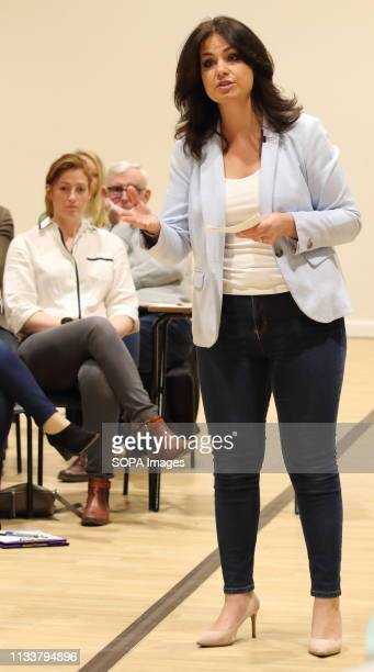 MP for South Cambridgeshire Heidi Allen seen addressing a Public Meeting in her constituency at Cambourne Village College The former Conservative MP...