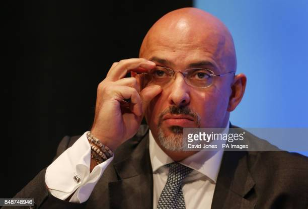 MP for Stratford on Avon Nadhim Zahawi adjusts his glasses during a discussion on 'The United Kingdom in Action' during the second day of the...
