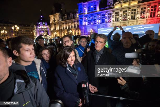 For the centenary of the Armistice of the First World War Paris Mayor Anne Hidalgo speaks with press in front of Paris city hall where 94415 flowers...