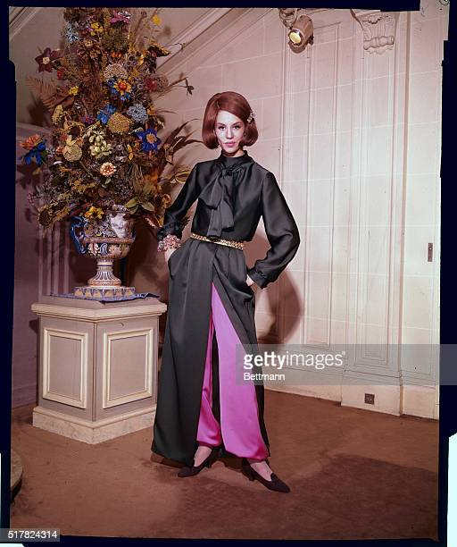"""For the fashion-conscious hostess, """"Jardin d""""Hiver,"""" this striking at-home dress was created by Marc Bohan for the Dior collection. Shirtwaist top is..."""