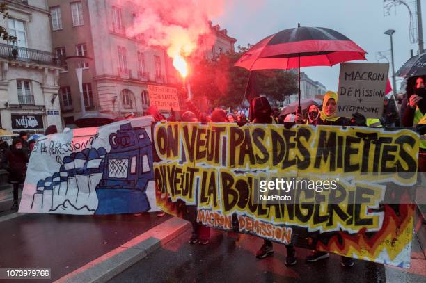 For the fifth consecutive Saturday the yellow jackets have again mobilized in the city center of Nantes France on 15 December 2018 to defend their...
