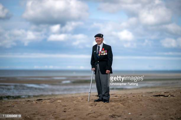 For the first time in 75 years Royal Navy D-Day veteran Matthew Toner, aged 93, sets foot on Juno Beach near to where his landing craft beached...