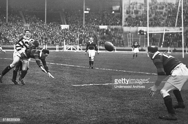 For the first time in history the Rugby League Challenge Cup Final was held at Wembley Stadium between Wigan and Dewsbury London England 1929 Here a...