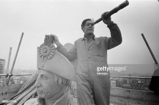 For the first time in over a hundred years Nelson's statue has a clean face Several days of sand blasting have revealed scars from the last war...