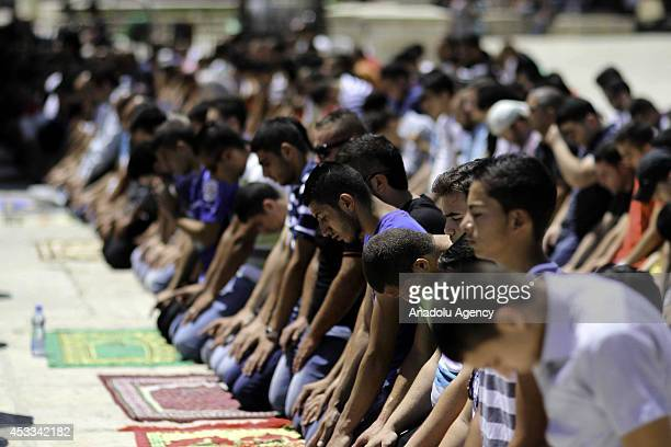 For the first time in weeks Muslim people perform their Friday Prayer at Al Aqsa Mosque after Israeli security's revoking the age restriction for Al...