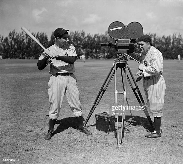 For the first time since he came with the world champion New York Yankees, outfielder Joe DiMaggio is at the spring training camp, signed up, ready...