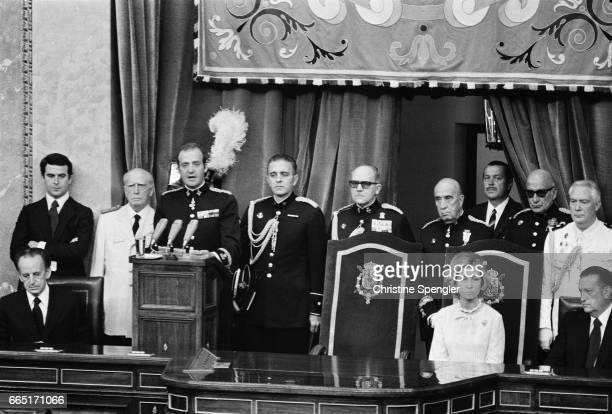 For the first time the King of Spain makes a speech at the Spanish parliament after the restoration of democracy | Location Madrid Spain