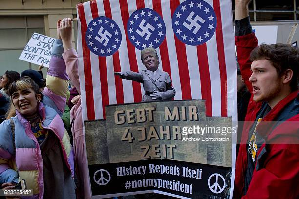 For the fourth straight day thousands of New Yorkers march up 5th Avenue to Trump Tower in protest against the election of Donald Trump as President...
