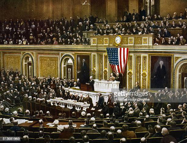 For the freedom of the world President Woodrow Wilson asking Congress to declare war on Germany April 1917