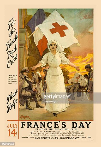 For the French Red Cross an appeal poster for aid to tend to the wounded