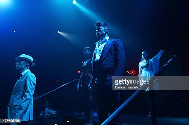 For The Record Baz cast members Zach Villa Briana Cuoco Constantine Rousouli and Olivia Harris perform during opening night at Light Nightclub at the...