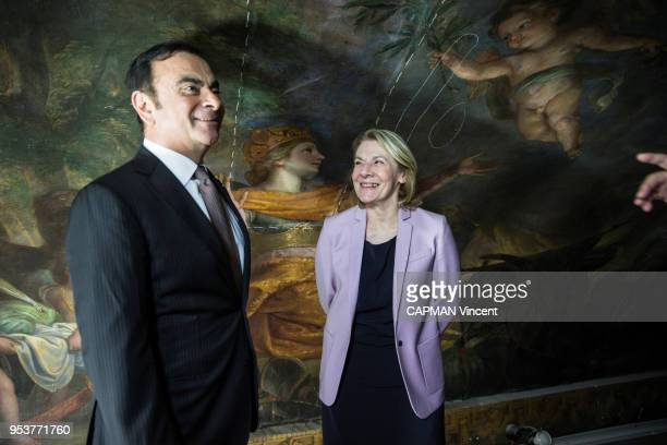 for the renovation of the Salon de la Paix built between 1681 and 1686 by Mansart and Le Brun Carlos Ghosn CEO of the Renault Group and Catherine...