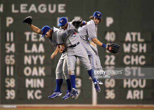 For the second time in as many nights Toronto Blue Jays left fielder Travis Snider , Toronto Blue Jays left fielder Rajai Davis , and Toronto Blue...