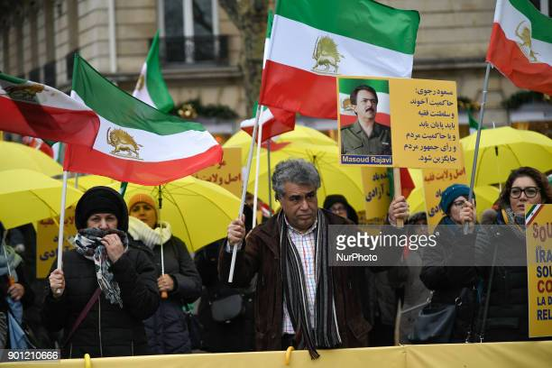 For the third day Iranians protesters in front of the ambassy of Iran against the arrestations and the killing in Iran on 4 January 2018 in Paris...