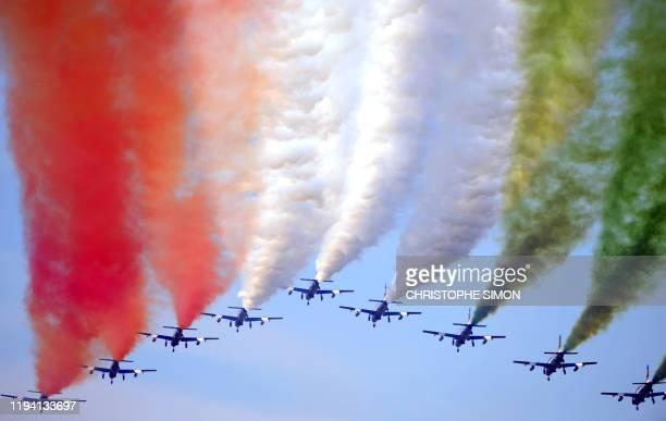 """For their 50th anniversary, the Italian """"Frecce tricolori"""", Tricolor Arrows, fly in an air show over the Rivolto army base, on 12 september, 2010...."""
