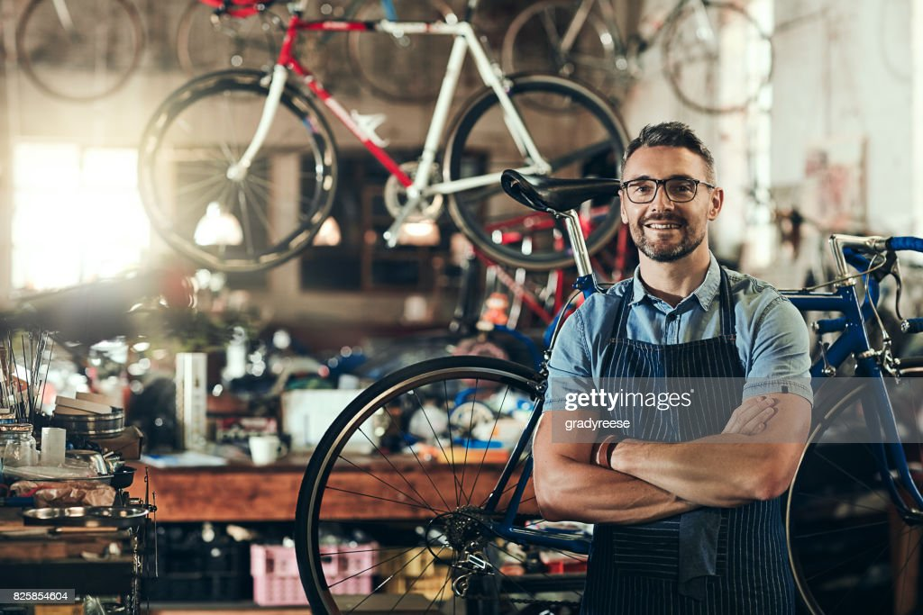 For trusted bicycle repair, I'm your guy : Stock Photo