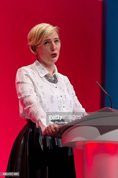 MP for Walthamstow Stella Creasy speaks to delegates during a session entitled 'Living Standards and Sustainability' during the third day of the...