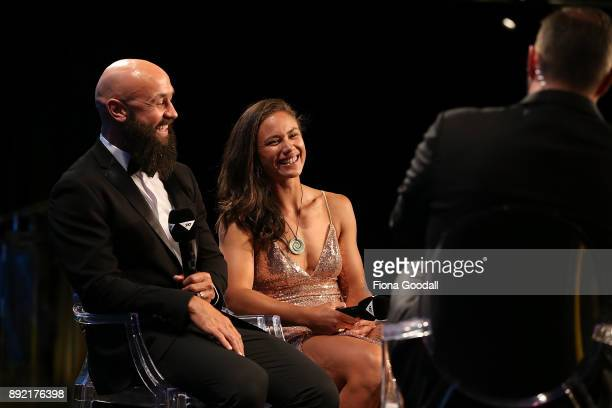 Forbes and Portia Woodman speak to Scotty Steveson during the ASB Rugby Awards 2018 at Sky City on December 14 2017 in Auckland New Zealand