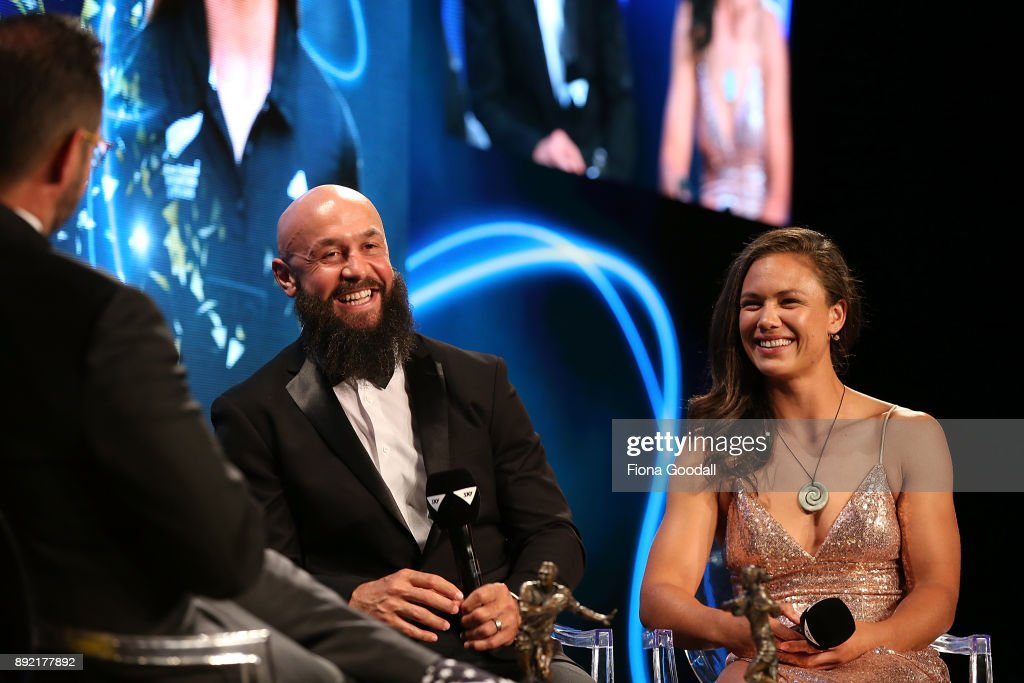 DJ Forbes (L) and Ruby Tui (R) speak to Scotty Steveson during the ASB Rugby Awards 2018 at Sky City on December 14, 2017 in Auckland, New Zealand.