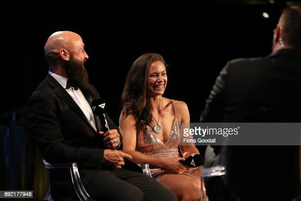 Forbes and Ruby Tui speak to Scotty Steveson during the ASB Rugby Awards 2018 at Sky City on December 14 2017 in Auckland New Zealand